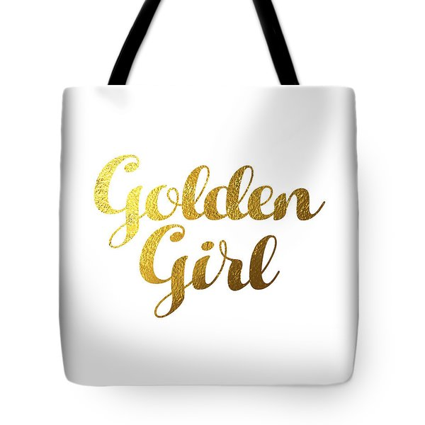 Golden Girl Typography Tote Bag by BONB Creative