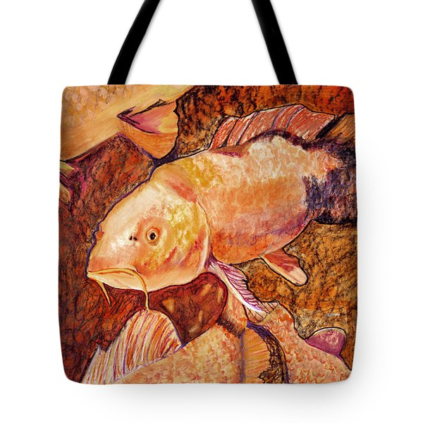Golden Koi Tote Bag by Pat Saunders-White