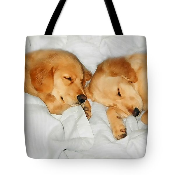 Golden Retriever Dog Puppies Sleeping Tote Bag by Jennie Marie Schell