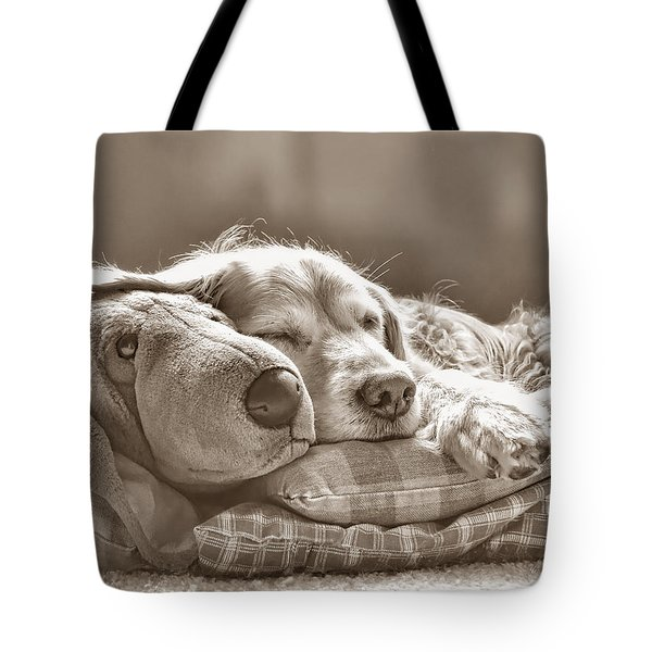 Golden Retriever Dog Sleeping With My Friend Sepia Tote Bag by Jennie Marie Schell