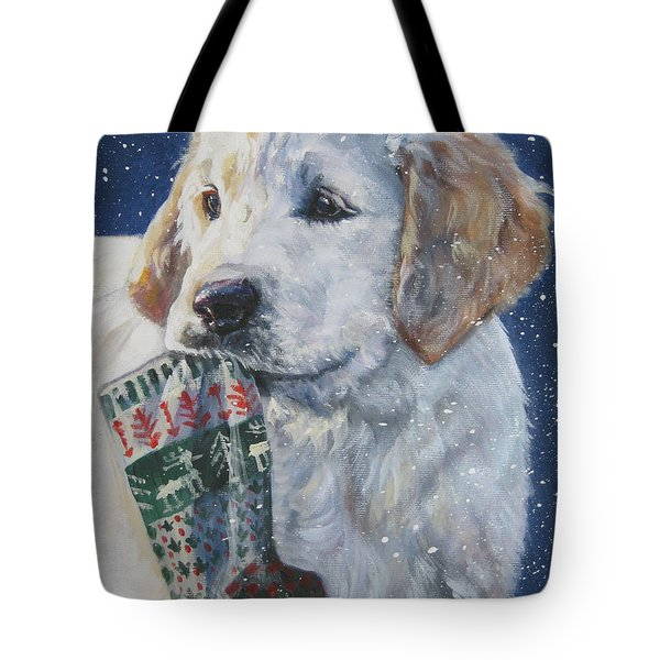 Golden Retriever With Xmas Stocking Tote Bag by Lee Ann Shepard