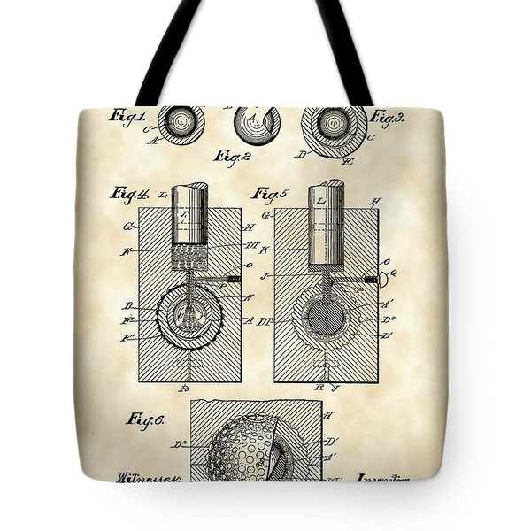 Golf Ball Patent 1902 - Vintage Tote Bag by Stephen Younts