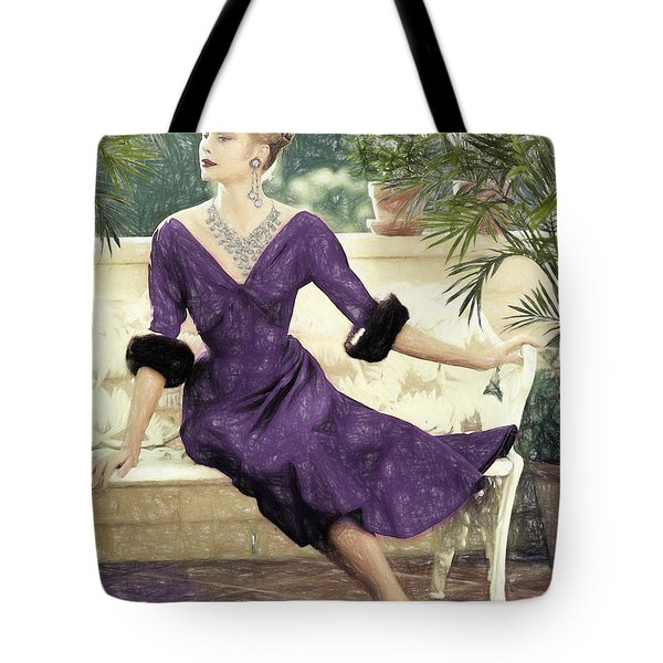 Grace Kelly Draw Tote Bag by Quim Abella