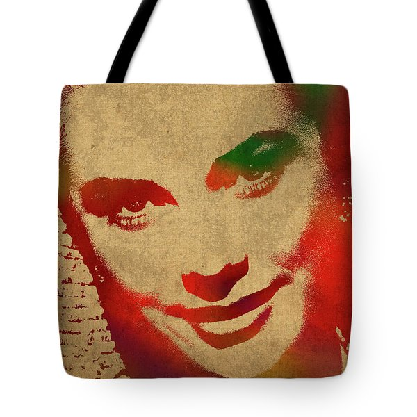 Grace Kelly Watercolor Portrait Tote Bag by Design Turnpike
