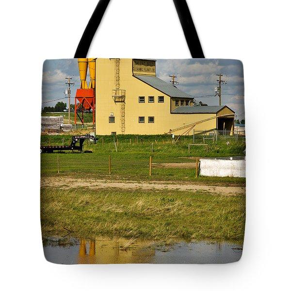 Grain Elevator In Balzac Alberta Tote Bag by Louise Heusinkveld