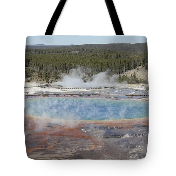 Grand Prismatic Spring, Midway Geyser Tote Bag by Richard Roscoe