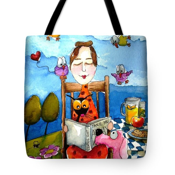 Grandma's Story Time Tote Bag by Lucia Stewart