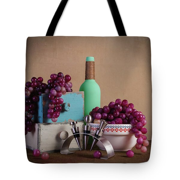 Grapes With Wine Stoppers Tote Bag by Tom Mc Nemar