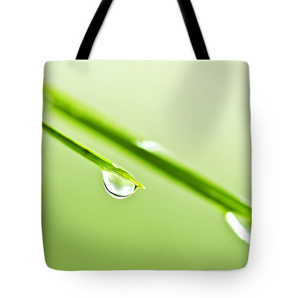 Grass blades with water drops Tote Bag by Elena Elisseeva