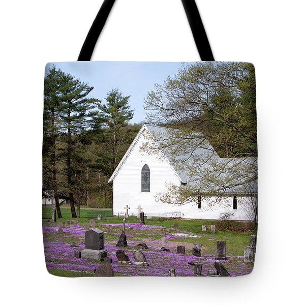 Graveyard Phlox Country Church Tote Bag by John Stephens