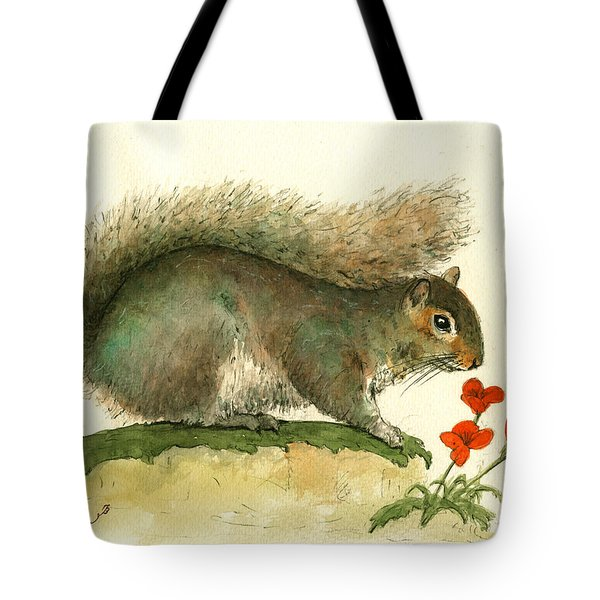 Gray Squirrel Flowers Tote Bag by Juan Bosco
