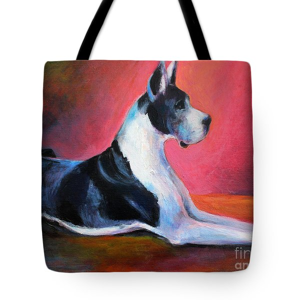 Great Dane Painting Svetlana Novikova Tote Bag by Svetlana Novikova