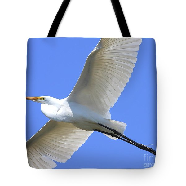 Great White Egret In Flight . 40D6850 Tote Bag by Wingsdomain Art and Photography
