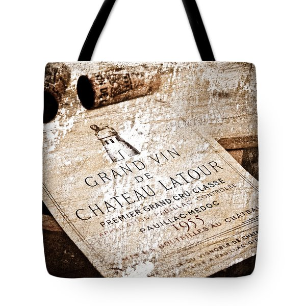 Great Wines Of Bordeaux - Chateau Latour 1955 Tote Bag by Frank Tschakert