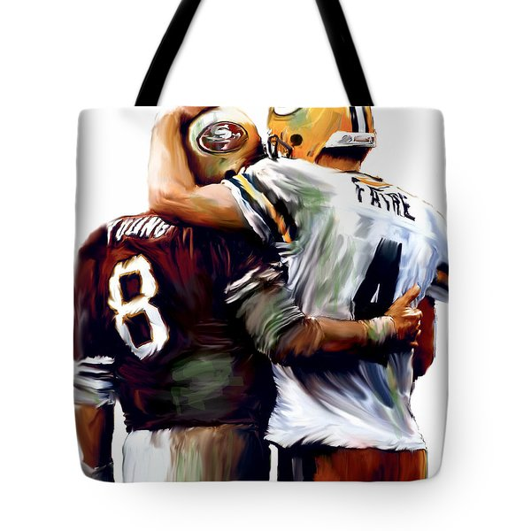 Greatness  Brett Favre and Steve Young  Tote Bag by Iconic Images Art Gallery David Pucciarelli