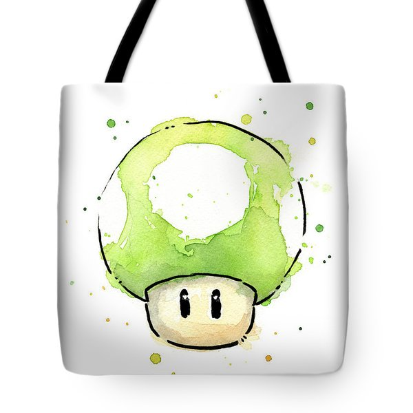 Green 1up Mushroom Tote Bag by Olga Shvartsur