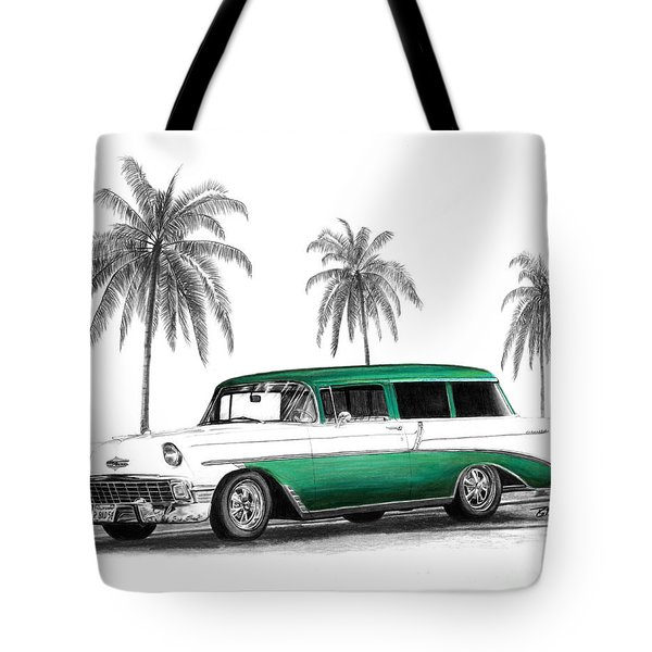 Green 56 Chevy Wagon Tote Bag by Peter Piatt