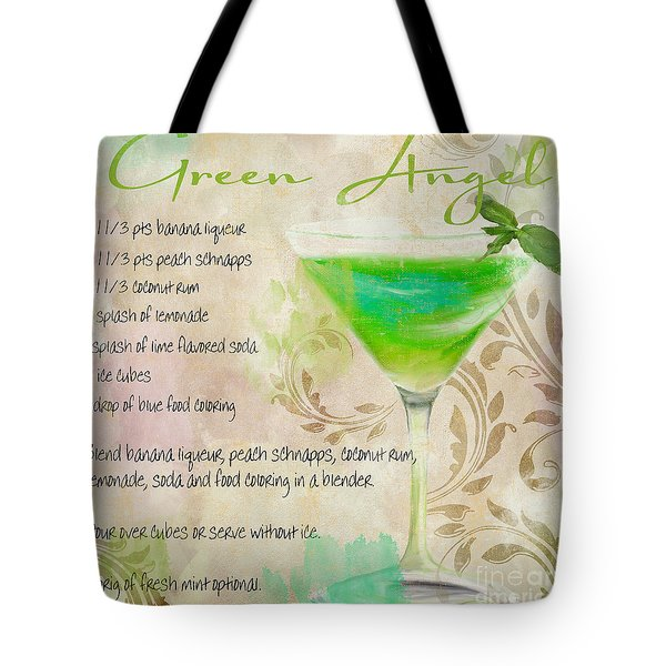 Green Angel Mixed Cocktail Recipe Sign Tote Bag by Mindy Sommers