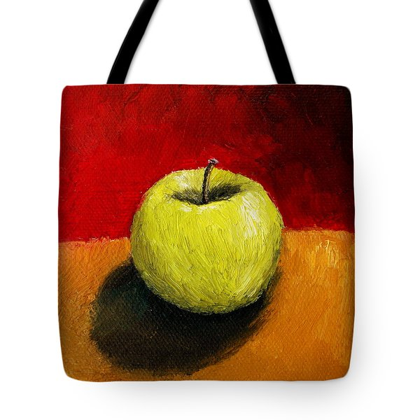 Green Apple With Red And Gold Tote Bag by Michelle Calkins
