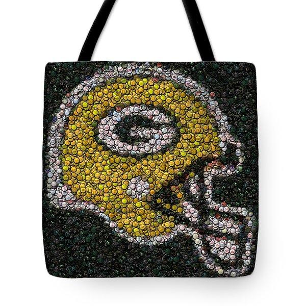 Green Bay Packers Bottle Cap Mosaic Tote Bag by Paul Van Scott