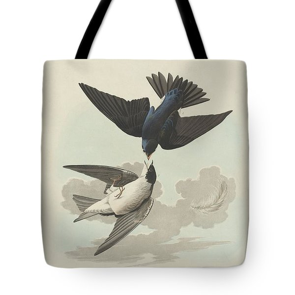 Green-blue Or White-bellied Swallow Tote Bag by John James Audubon