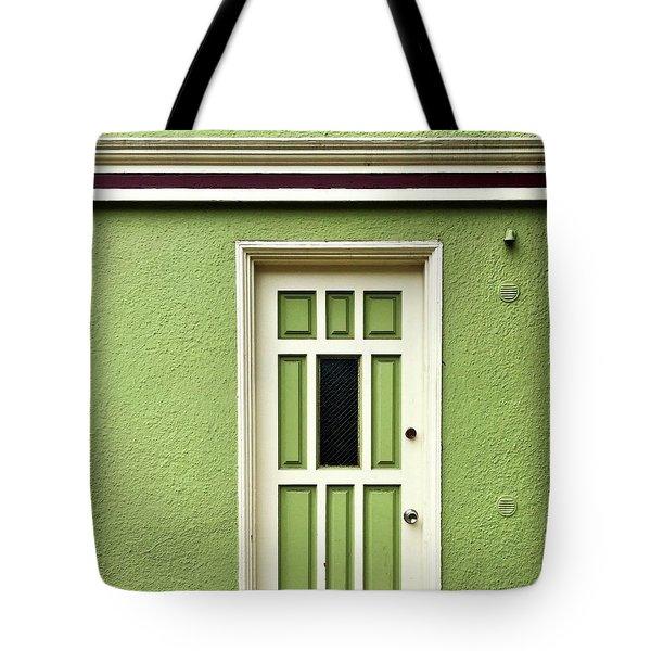Green Door Detail Tote Bag by Julie Gebhardt