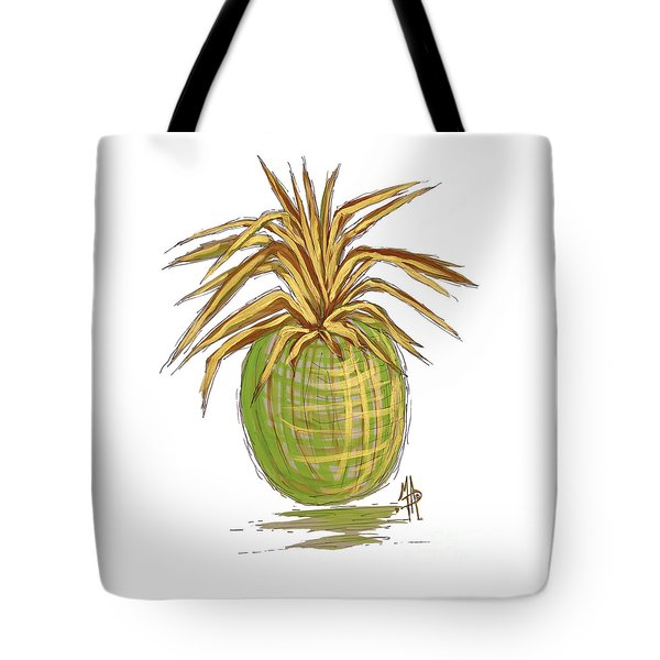 Green Gold Pineapple Painting Illustration Aroon Melane 2015 Collection By Madart Tote Bag by Megan Duncanson