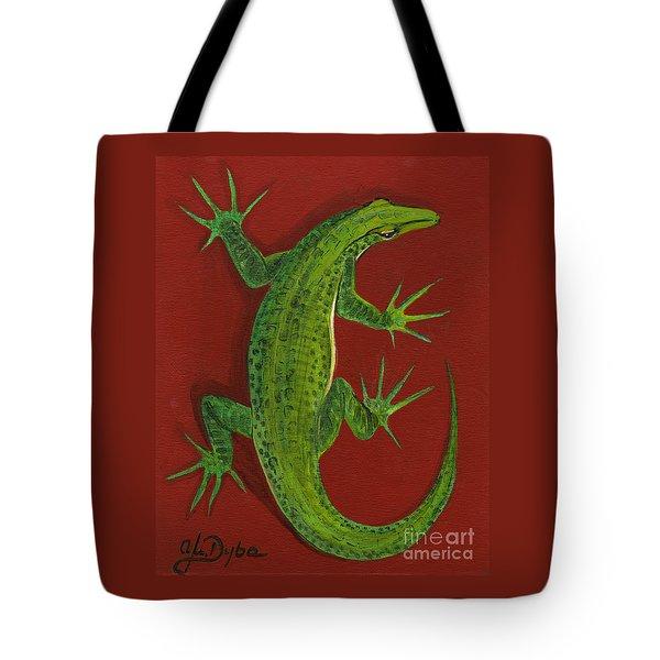 Green Lizard Tote Bag by Anna Folkartanna Maciejewska-Dyba