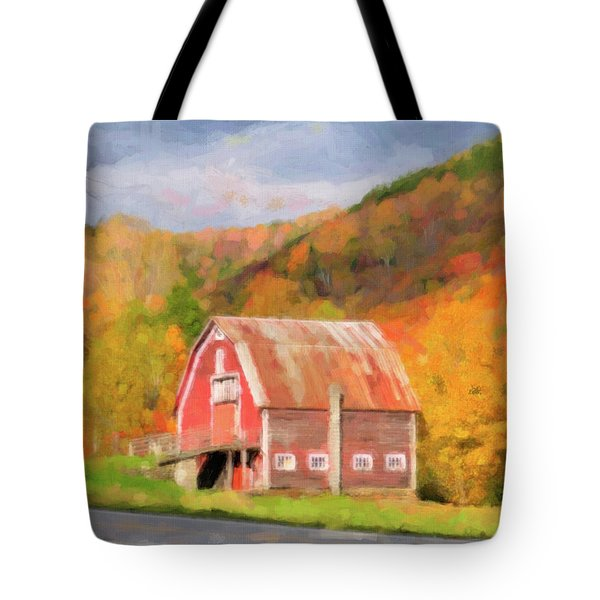 Green Mountains Barn Tote Bag by Betty LaRue