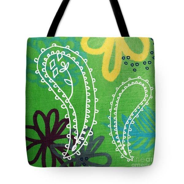 Green Paisley Garden Tote Bag by Linda Woods