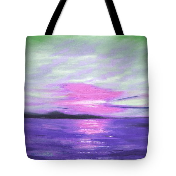 Green Skies and Purple Seas Sunset Tote Bag by Gina De Gorna
