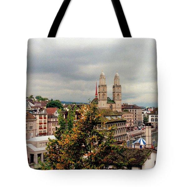 Grossmuenster Church Zurich Switzerland Tote Bag by Susanne Van Hulst