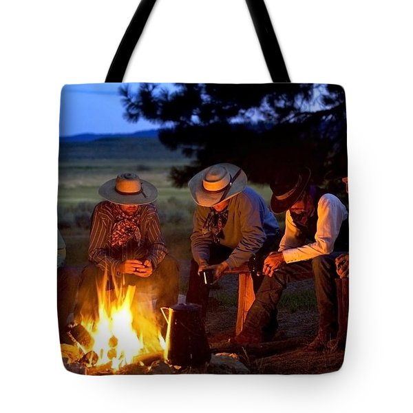 Group Of Cowboys Around A Campfire Tote Bag by Richard Wear