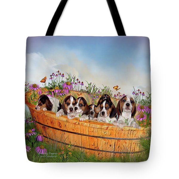 Growing Puppies Tote Bag by Carol Cavalaris