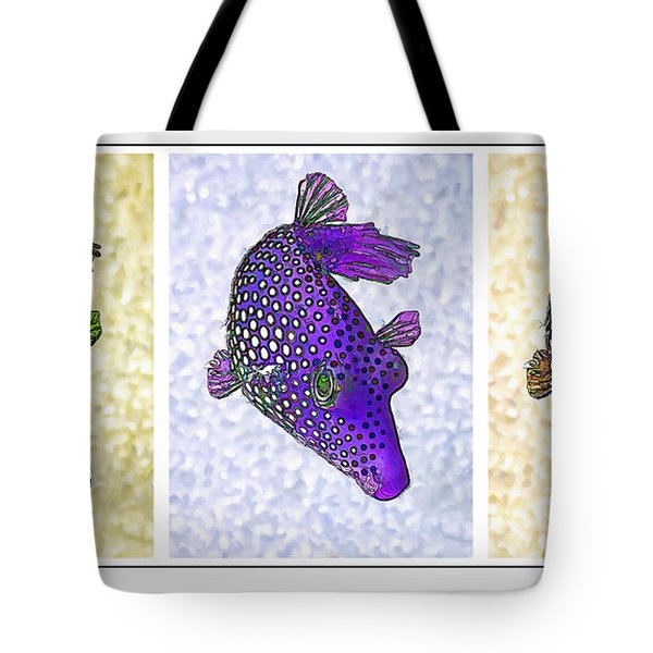 Guinea Fowl Puffer Fish Triptych Tote Bag by Bill Caldwell -        ABeautifulSky Photography