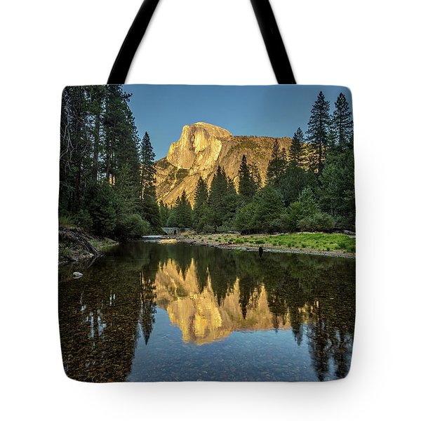 Half Dome From  The Merced Tote Bag by Peter Tellone