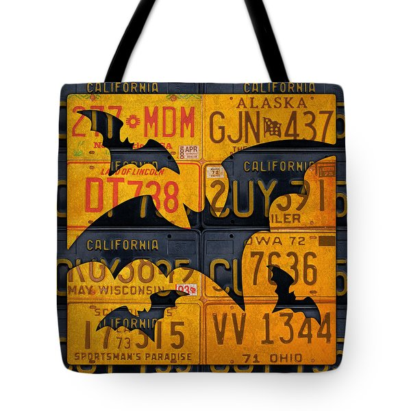 Halloween Bats Recycled Vintage License Plate Art Tote Bag by Design Turnpike