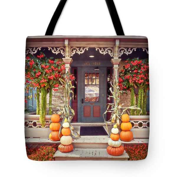 Halloween In A Small Town Tote Bag by Mary Machare