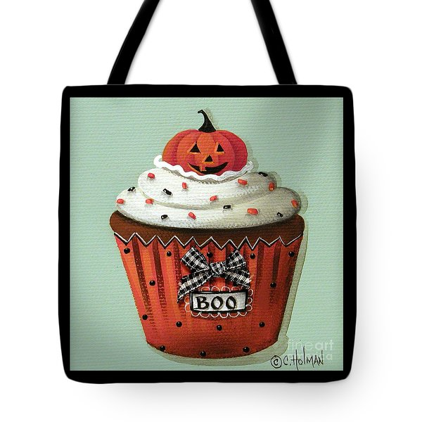 Halloween Pumpkin Cupcake Tote Bag by Catherine Holman