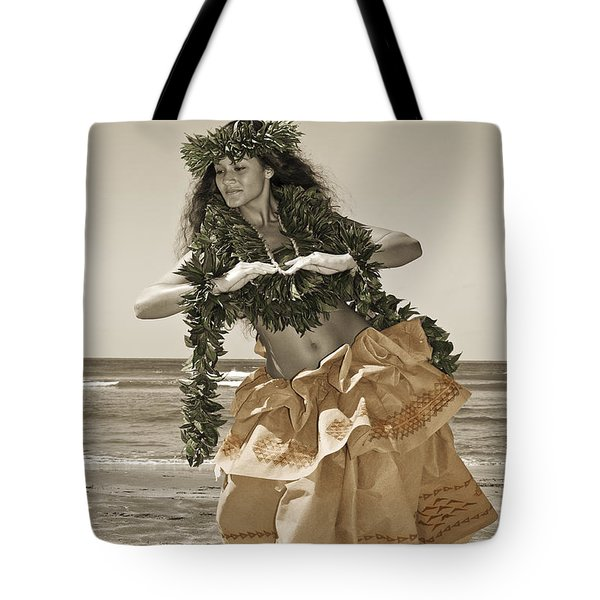 Hand Colored Hula Tote Bag by Himani - Printscapes