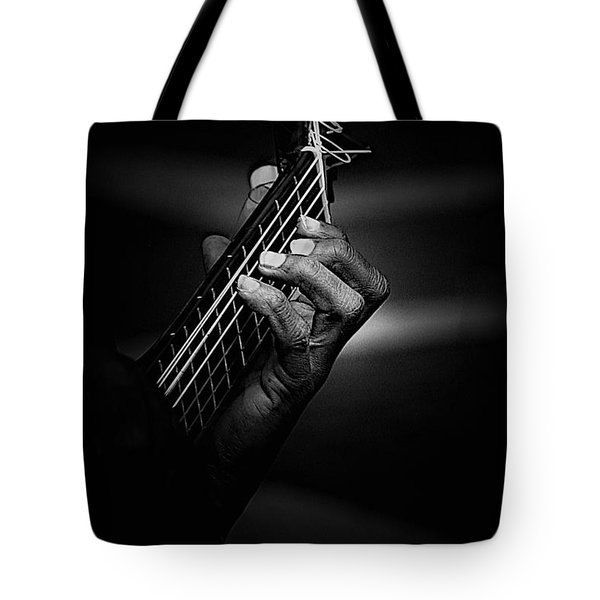 Hand Of A Guitarist In Monochrome Tote Bag by Avalon Fine Art Photography