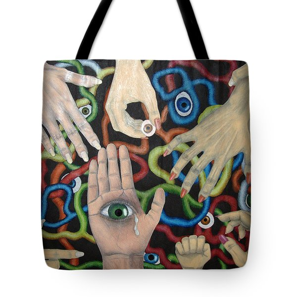 Hands And Eyes Tote Bag by Nancy Mueller