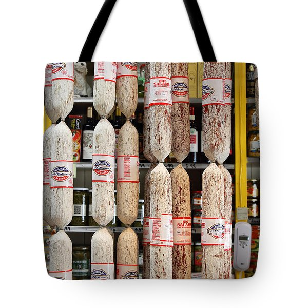Hanging Salami Tote Bag by Wingsdomain Art and Photography