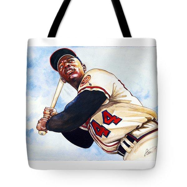 Hank Aaron Tote Bag by Dave Olsen