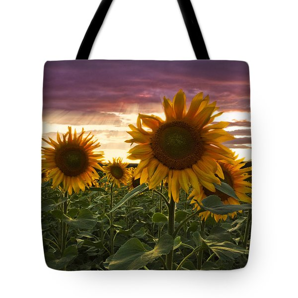 Happiness Is A Field Of Sunflowers Tote Bag by Debra and Dave Vanderlaan