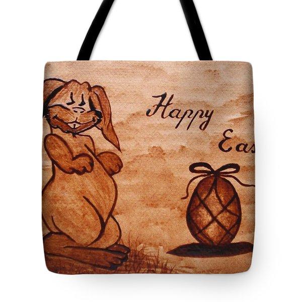 Happy Easter Coffee Painting Tote Bag by Georgeta  Blanaru