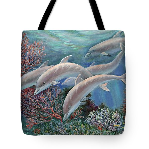 Happy Family - Dolphins Are Awesome Tote Bag by Svitozar Nenyuk