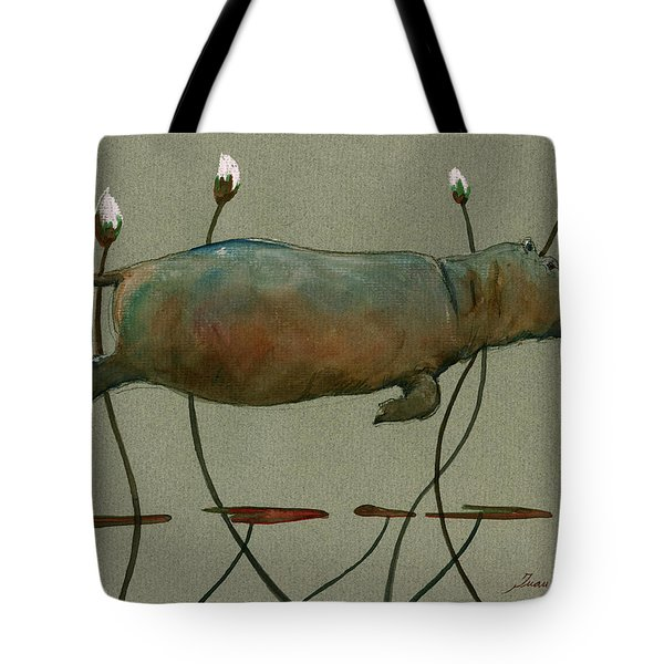 Happy Hippo Swimming Tote Bag by Juan  Bosco