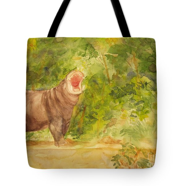 Happy Hippo Tote Bag by Vicki  Housel