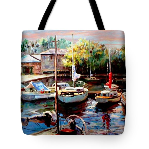 Harbor Sailboats at Rest Tote Bag by Ronald Chambers